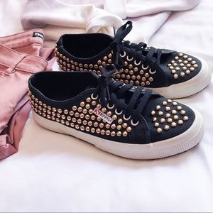 Superga Gold studded sneakers